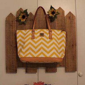 Dooney & Bourke Yellow White Lg Tote Bag